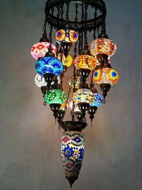16 piece turkish chandelier coloured mosaic lights