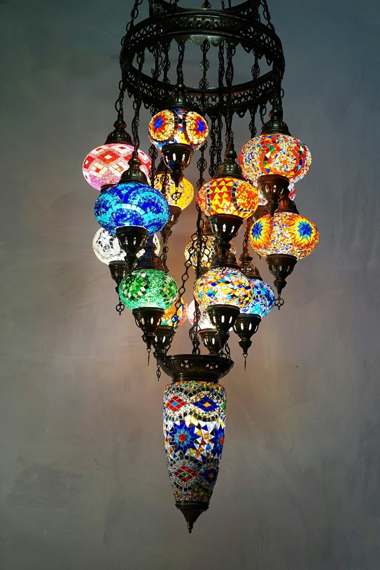 16 piece mosaic chandelier with large centre piece the dancing pixie 16 piece turkish chandelier coloured mosaic lights aloadofball Images