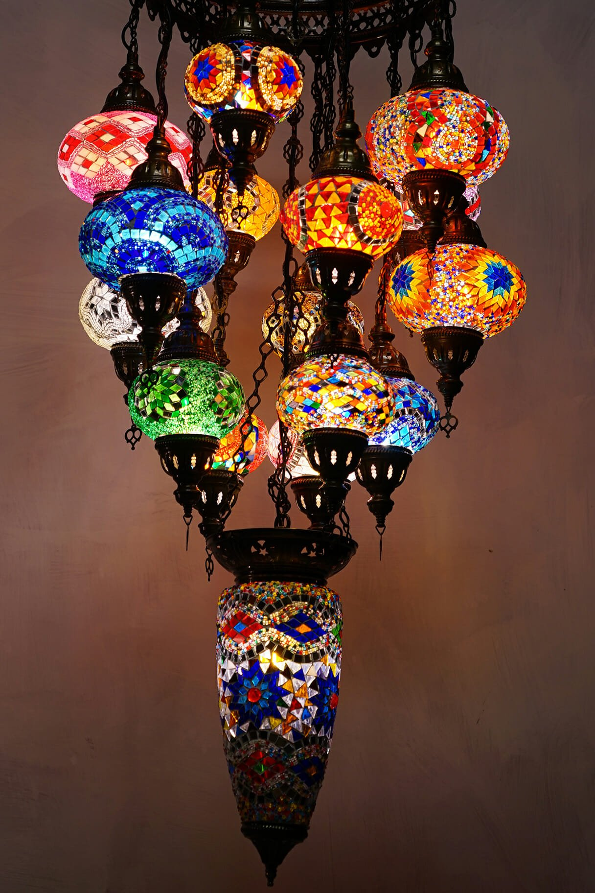 16 Piece Turkish Mosaic Multi Coloured Glass Chandelier