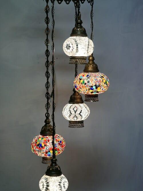 5 piece mixed colour mosaic chandelier