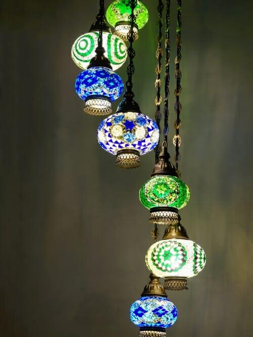 7 piece Green and blue spiral chandelier distance