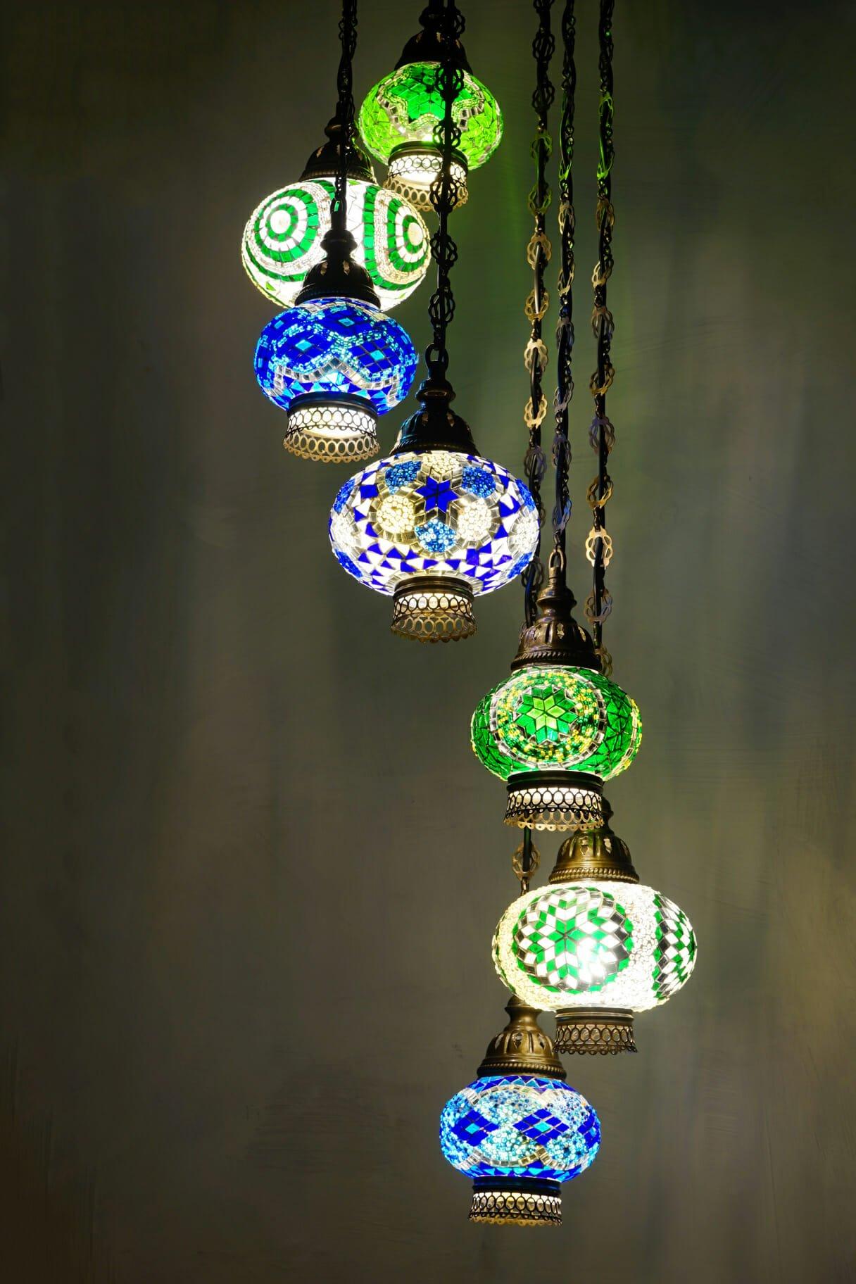 Spiral 7 piece mosaic chandelier the dancing pixie 7 piece green and blue spiral chandelier distance aloadofball Images