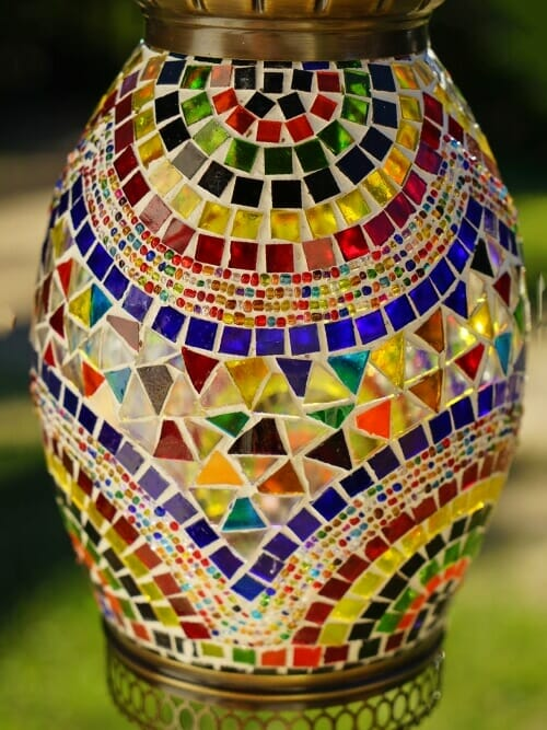 coloured mosaic pendant light close up