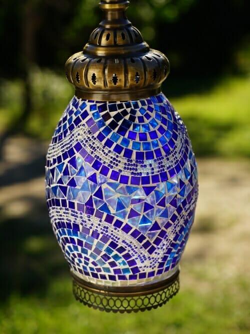 blue mosaic pendant light