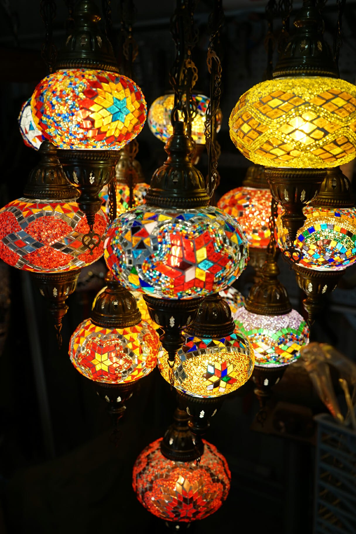16 piece mosaic chandelier 1 the dancing pixie turkish moroccan 16 piece mosaic chandelier close up aloadofball Images