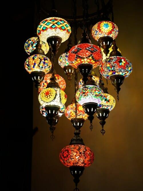 Turkish Moroccan 16 piece mosaic chandelier closed bottoms