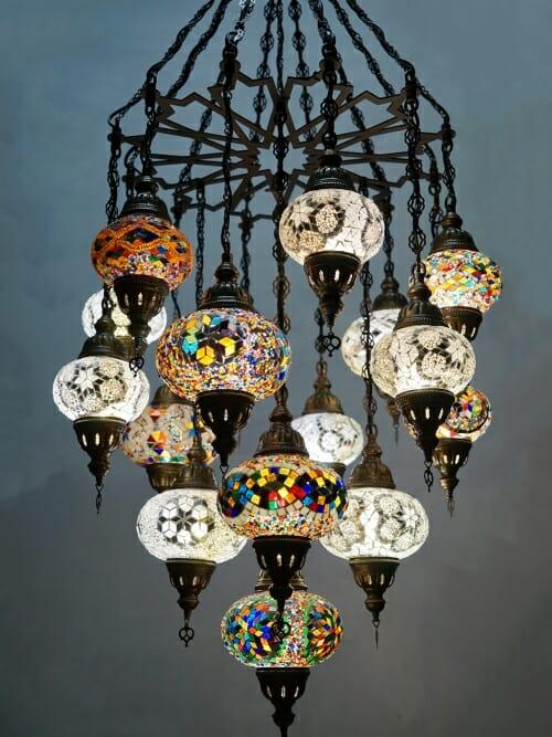 16 piece coloured mosaic chandelier spider web frame close up
