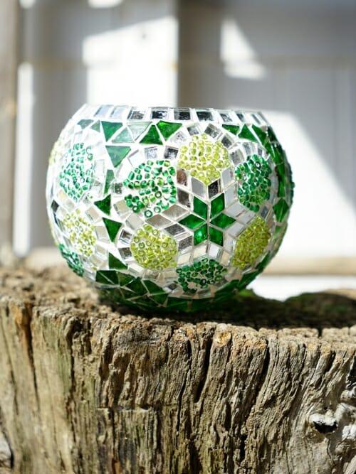 Mosaic Candle Holder medium green