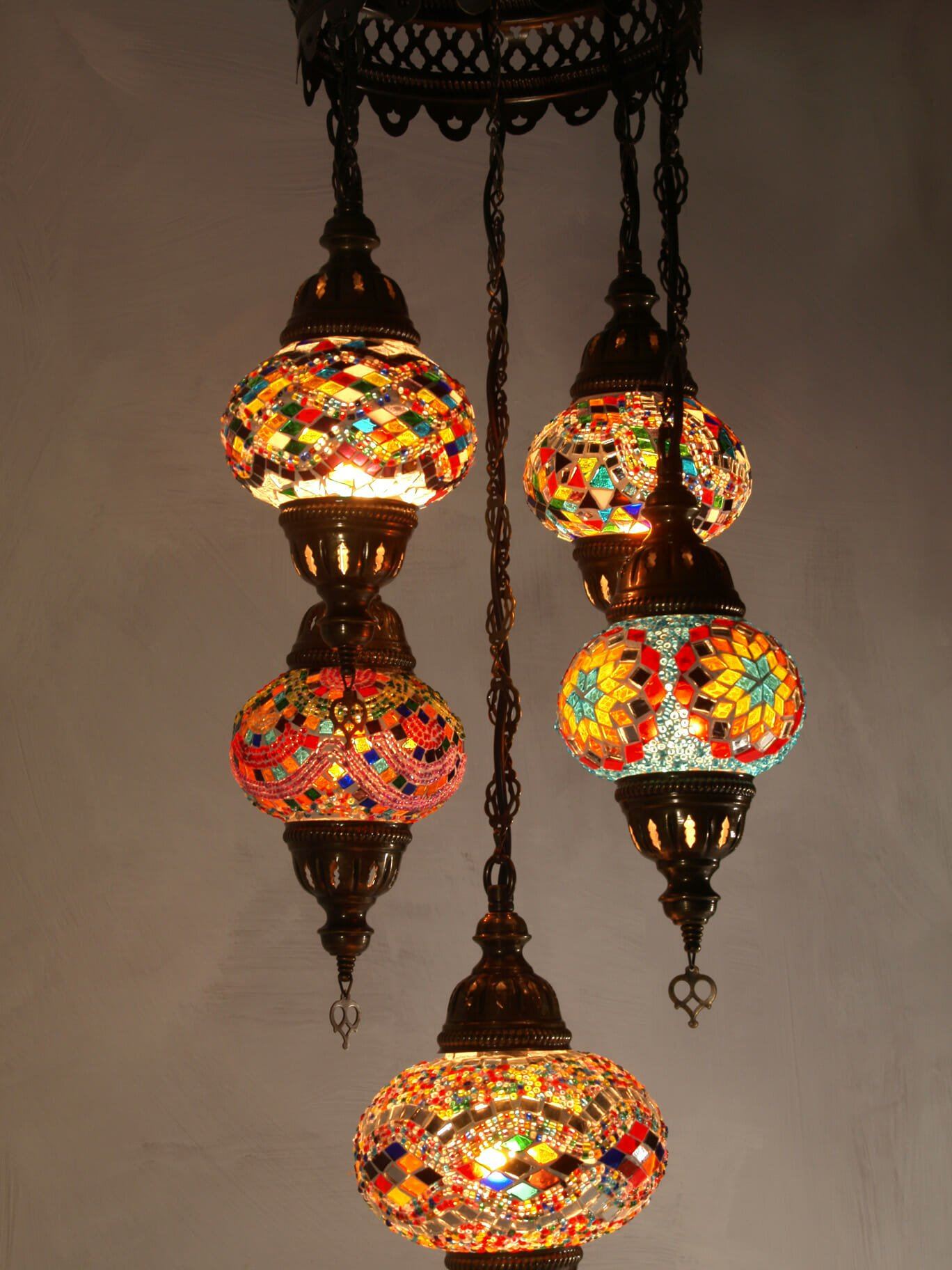 Mixed length 5 piece mosaic chandelier the dancing pixie mosaic chandelier mixed 5 piece multi coloured aloadofball Image collections