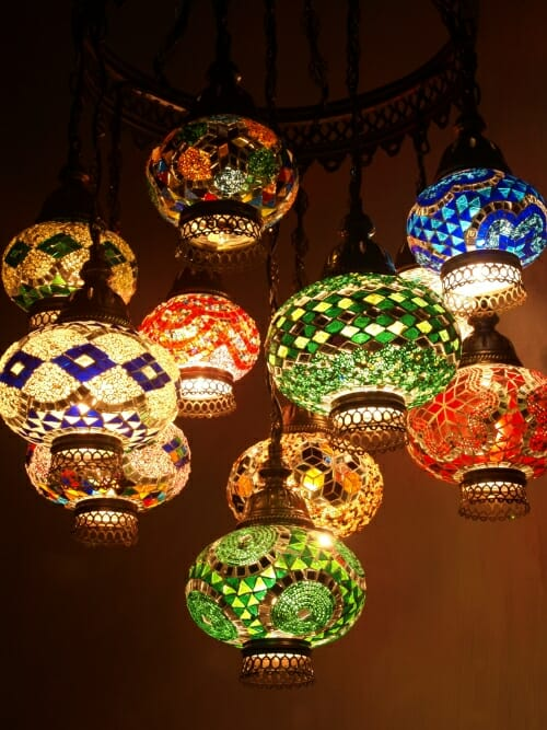Mosaic-Chandelier-mixed-length-11-piece-mixed-colours middle eastern frame open bottoms