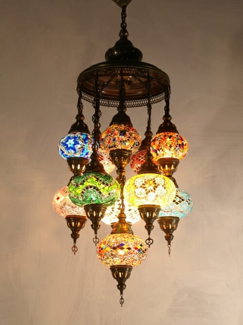 Mosaic-Chandelier-mixed-length-11-piece-mixed-colours ottoman frame closed bottoms