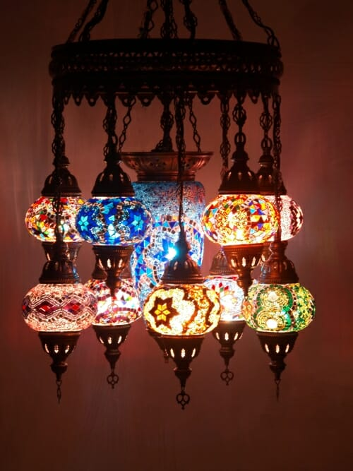 Mosaic-Chandelier-mixed-length-11-piece-mixed-colours-large-in-midddle closed bottom middle eastern frame