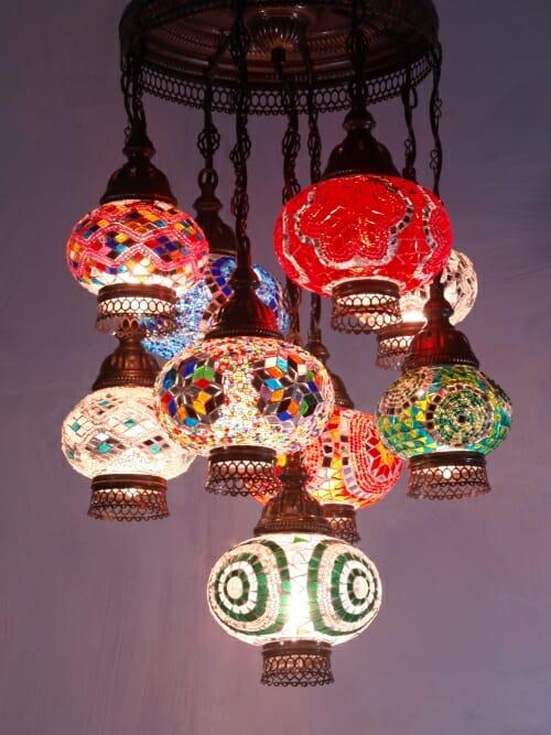 Mosaic-Chandelier-mixed-length-9-piece-mixed-colours open bottom ottoman frame