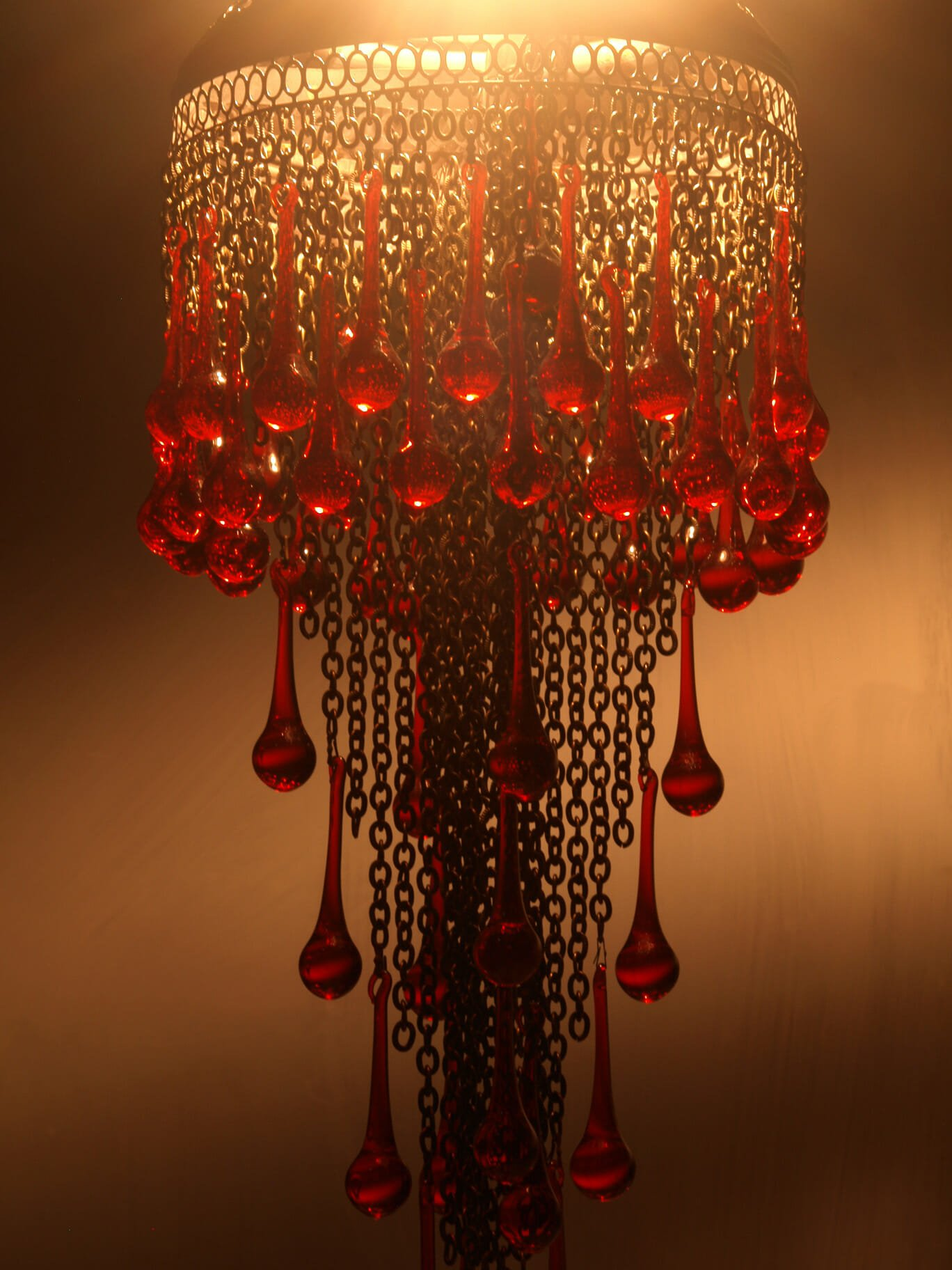 Red Glass Tear Drop Chandelier The Dancing Pixie