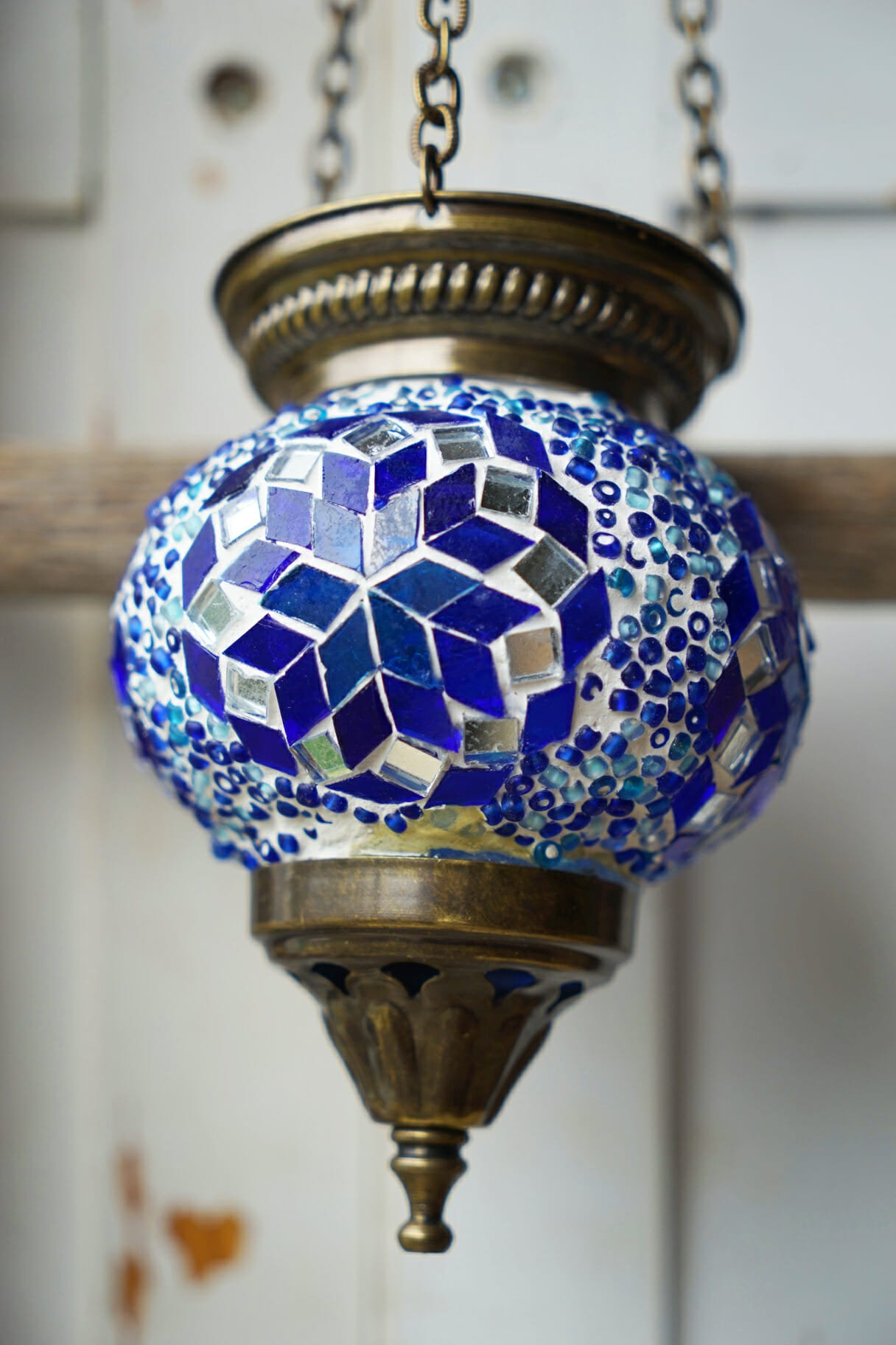 Hanging mosaic candle holders blue