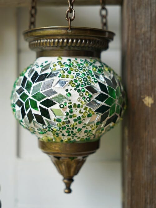 Hanging Mosaic Candle Holders Green