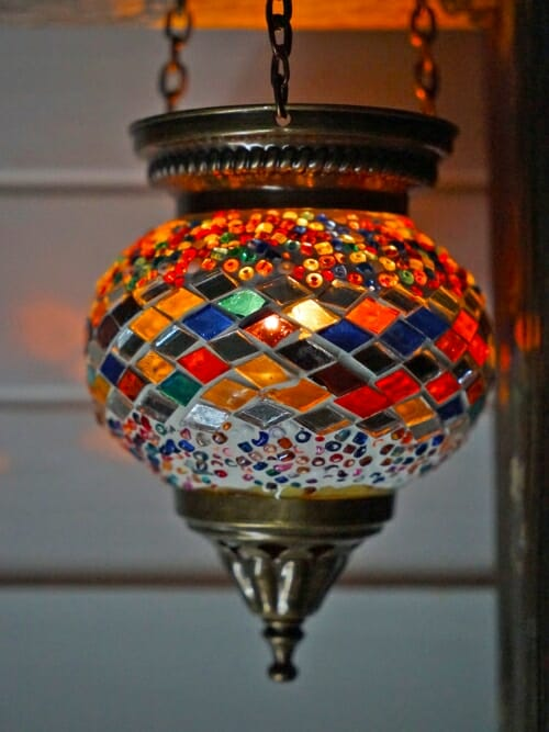 Hanging Mosaic Candle Holders Multi Colour diamond with candle