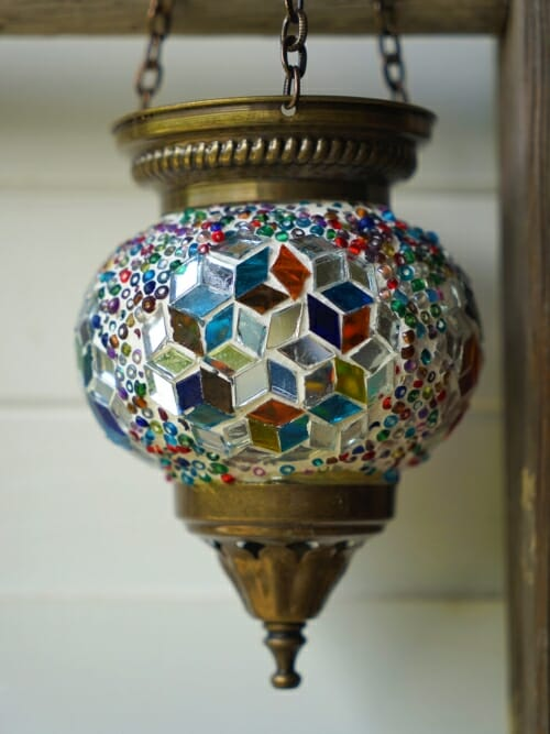 Hanging Mosaic Candle Holders Multi Colour hexigon