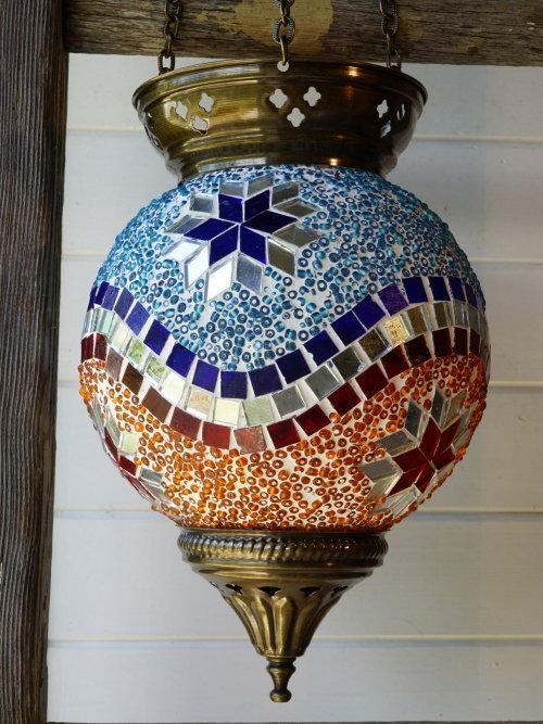 Hanging Turkish Mosaic Candle Holders Blue and Orange