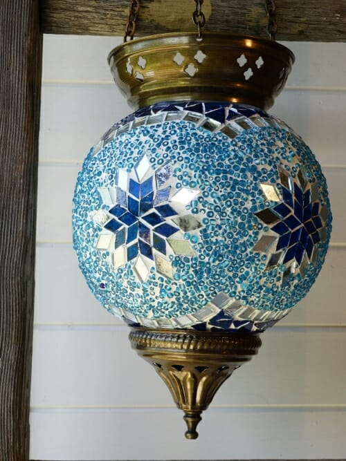 Hanging Turkish Mosaic Candle Holders Blue