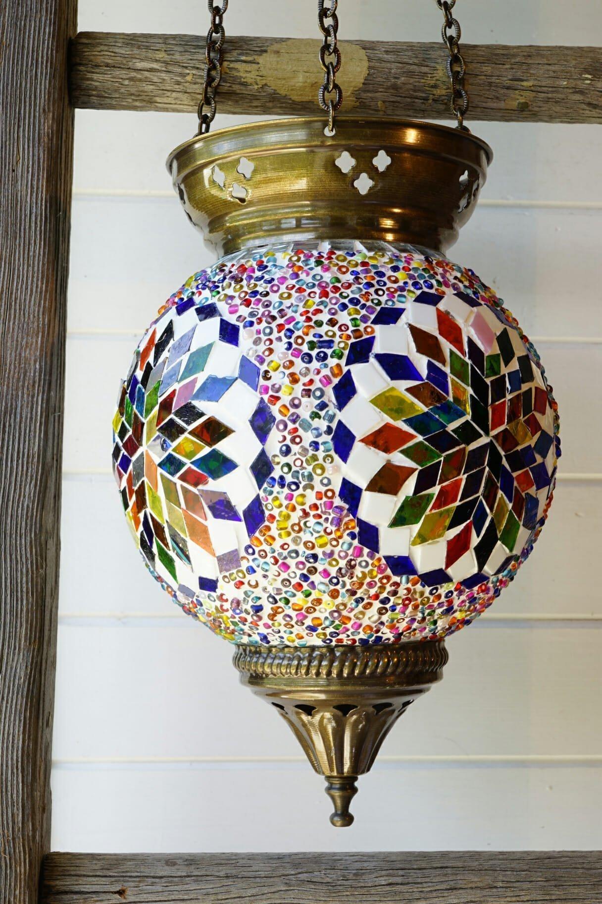 Hanging turkish mosaic candle holders snowflake