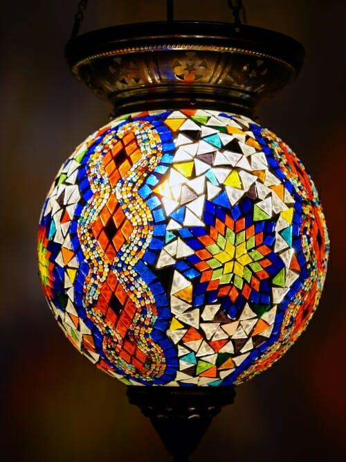 Large Turkish Mosaic Light Sphere Diamond CLose up