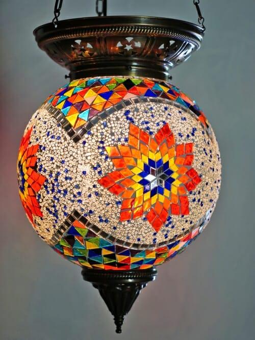 Large Turkish Mosaic Light Sphere Star