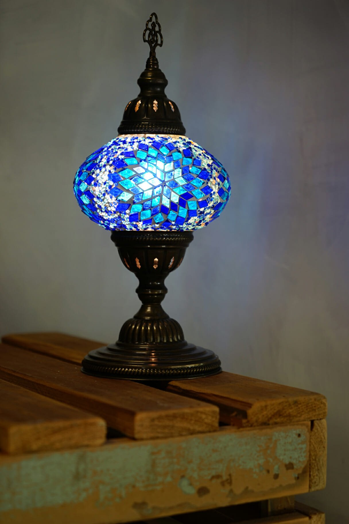 Blue ufo mosaic table lamp the dancing pixie turkish mosaic table lamps blue 2 aloadofball Images