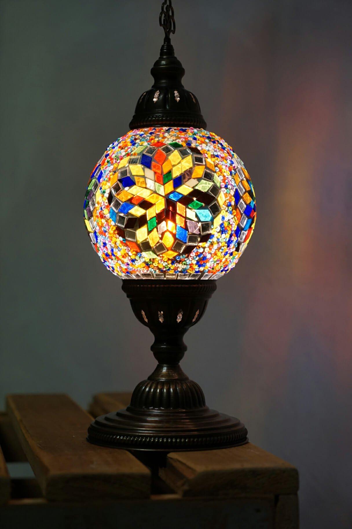 Snowflake Multi Coloured Globe Table Lamp The Dancing Pixie