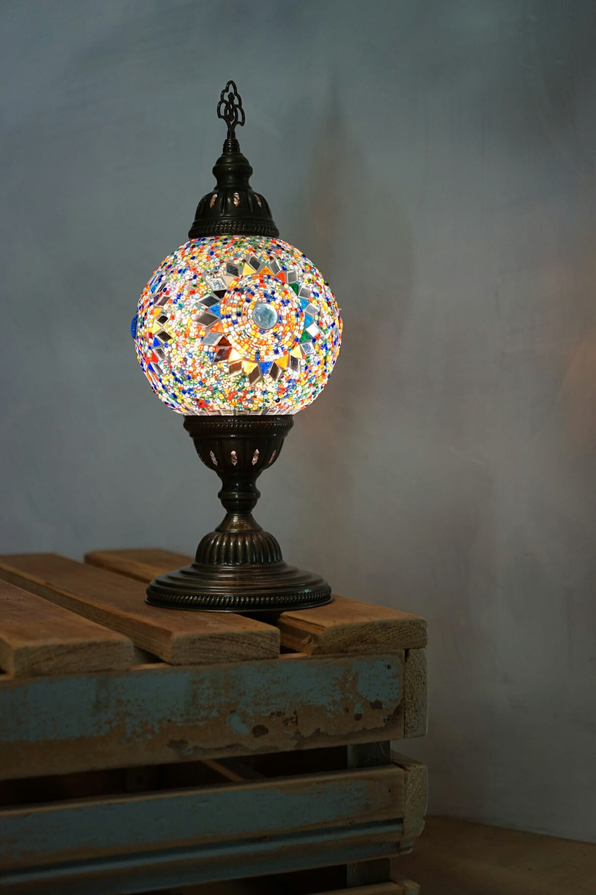 Sun multi coloured globe table lamp the dancing pixie turkish mosaic table lamps sun aloadofball Images
