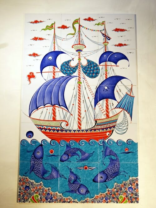 100x60 Hand painted mural picture tiles Royal Fortune Ship 4 2