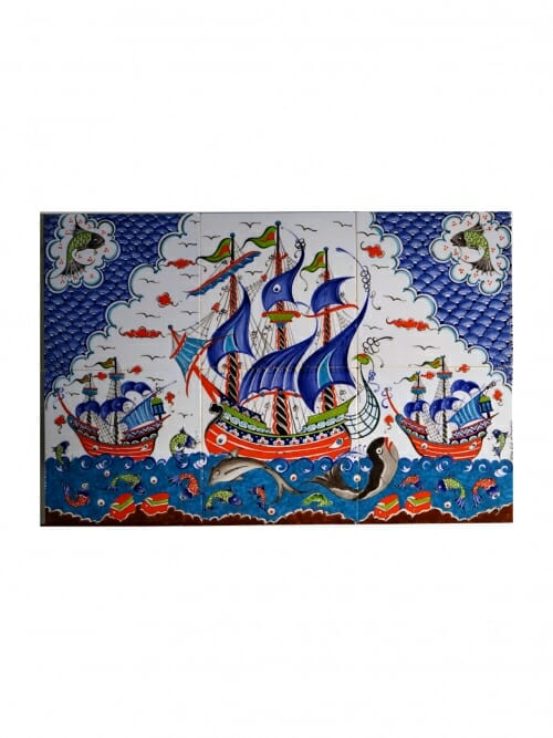 40x60 Hand painted mural picture tiles Snap Dragon Boat Royal Blue 2b 3