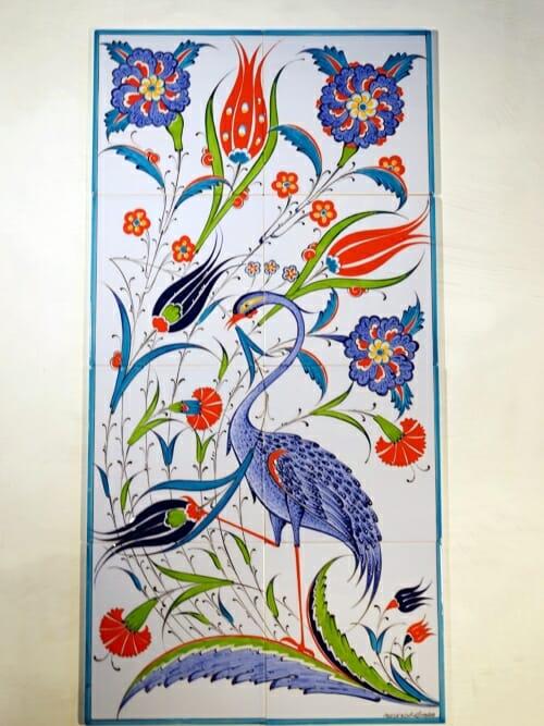 80 x 40 Turkish Tile Panel Mural Hand Painted Blue Bird 3b