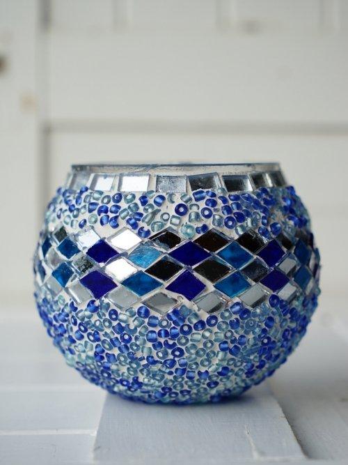 Blue mosaic Candle Holder