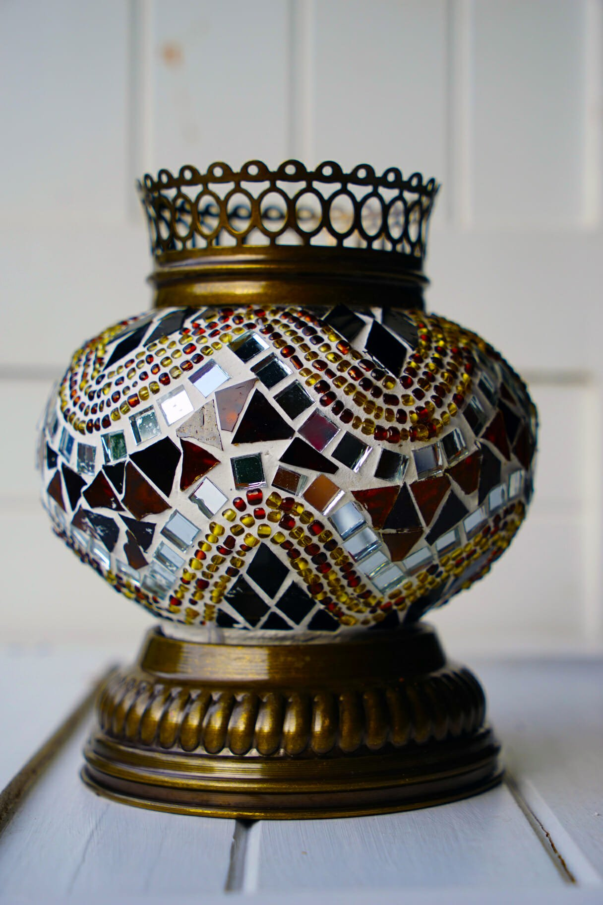 Brown Mosaic Candle Holder with Brass Stand   The Dancing ...
