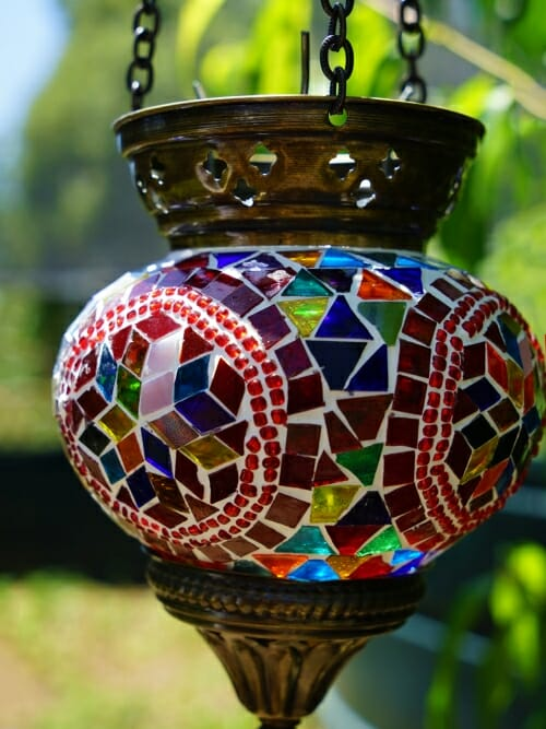 12cm Mosaic Glass Hanging Candle Holder hexagon close up