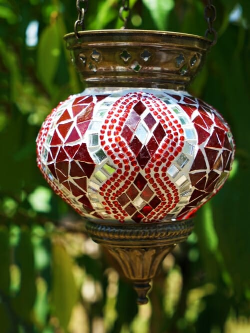 12cm Mosaic Glass Hanging Candle Holder red