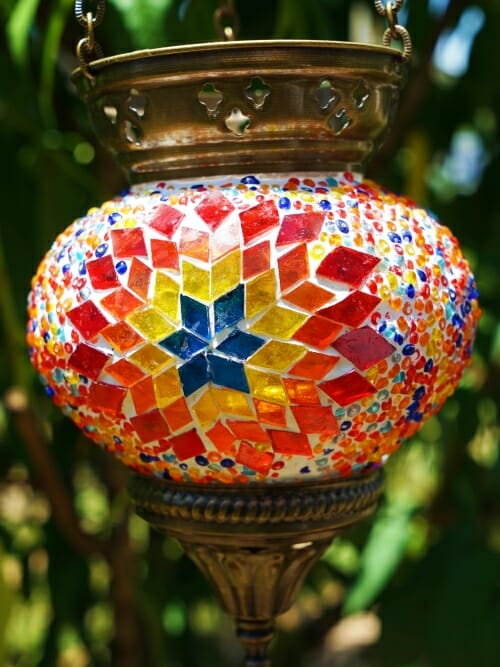 12cm Mosaic Glass Hanging Candle Holder sun