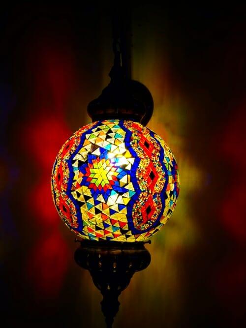 Diamond sphere multi coloured mosaic wall light dark