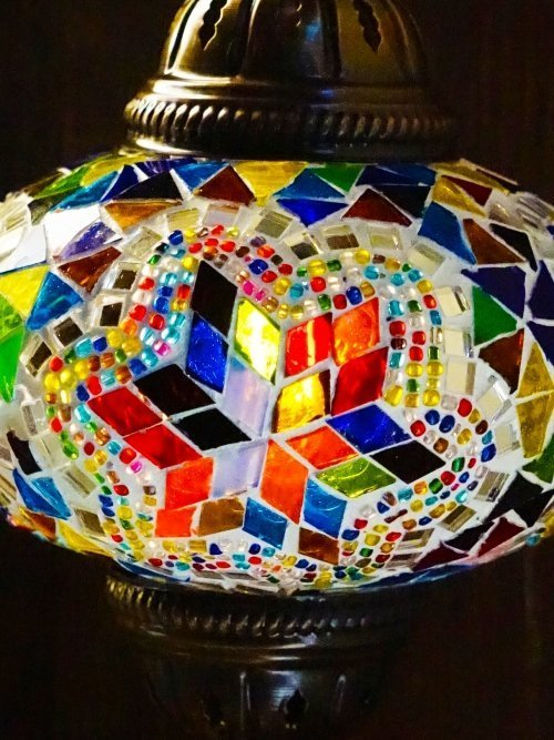 Flower UFO Mosaic Table Lamp close up