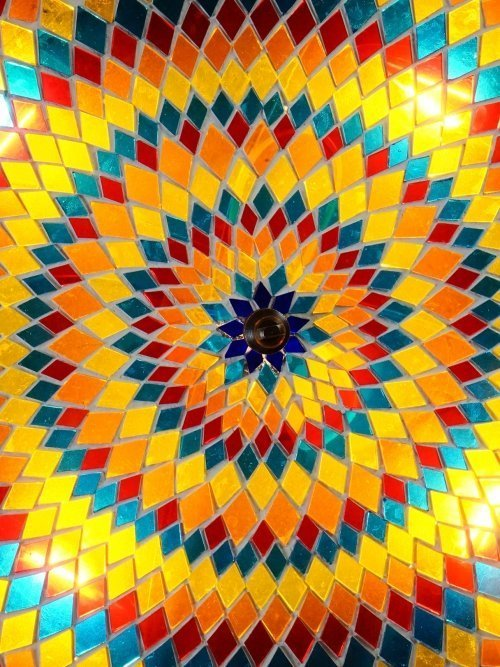 Sun Dial Mosaic Ceiling and Wall Light close up mosaic
