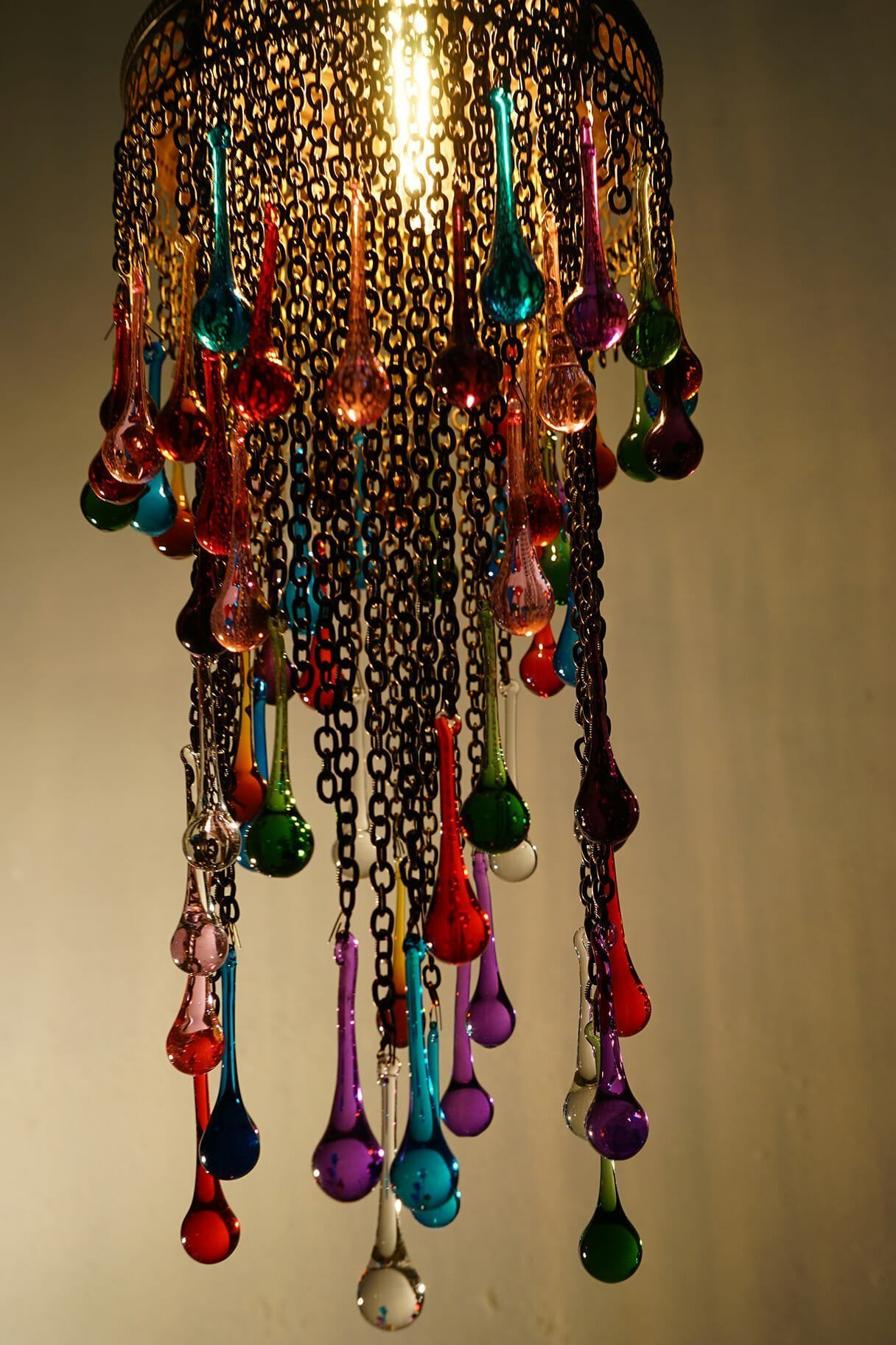 Coloured glass tear drop chandelier the dancing pixie coloured glass tear drop chandelier close up aloadofball Image collections