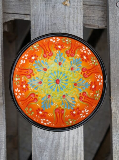 10cm hand painted dipping bowl multicoloured orange