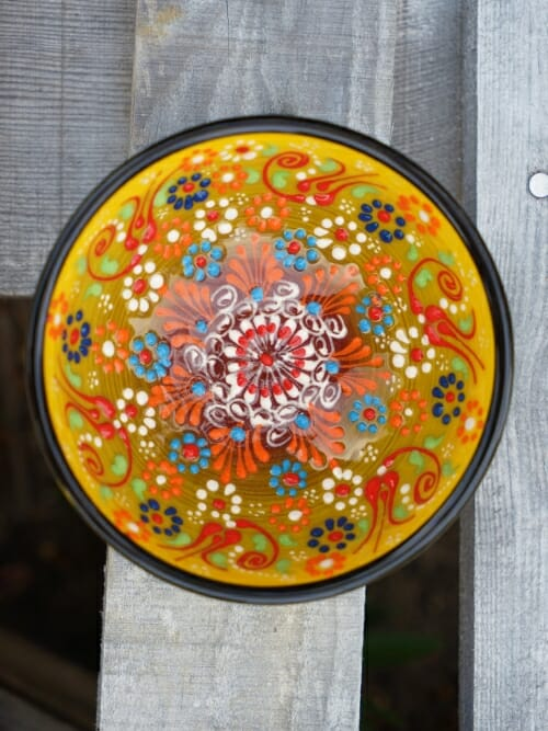 10cm hand painted dipping bowl yellow to black