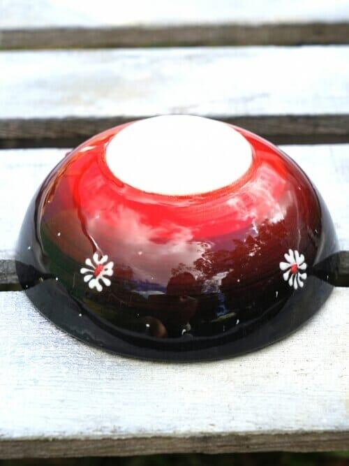 15cm multi coloured ceramic dessert bowls black to red outside 2