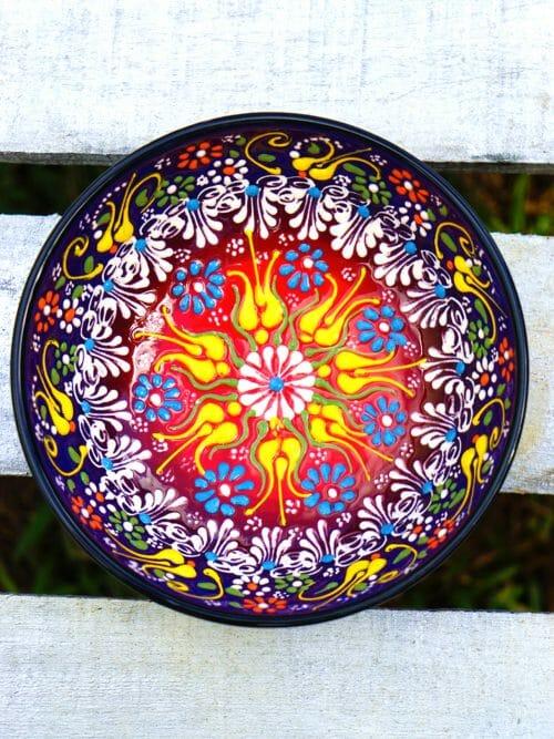 15cm multi coloured ceramic dessert bowls blue to red inside