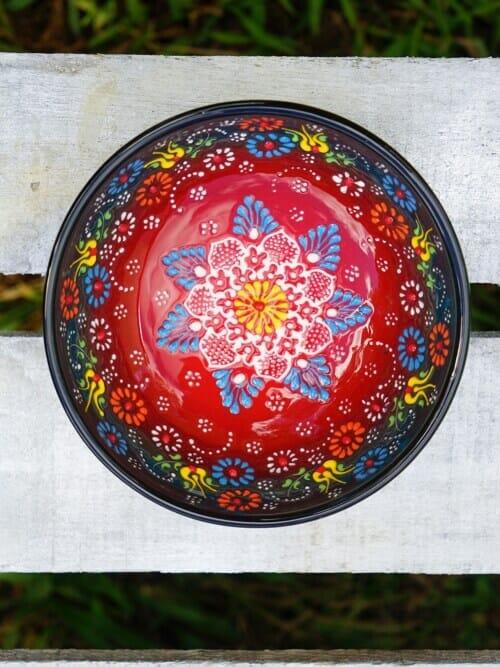 15cm multi coloured ceramic dessert bowls green to red