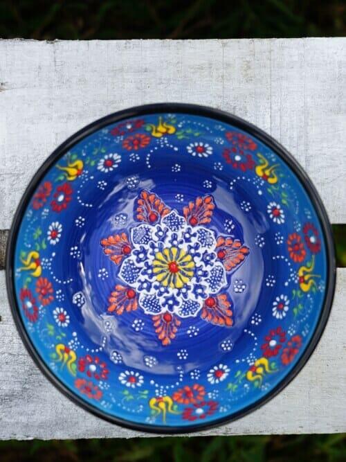 15cm multi coloured ceramic dessert bowls light blue to dark blue outside