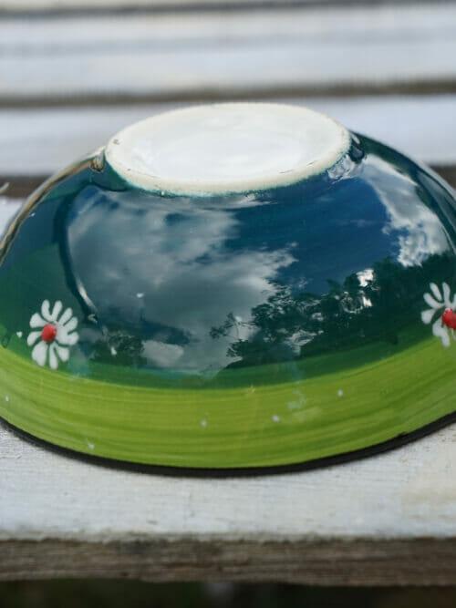 15cm multi coloured ceramic dessert bowls light green to dark green outside