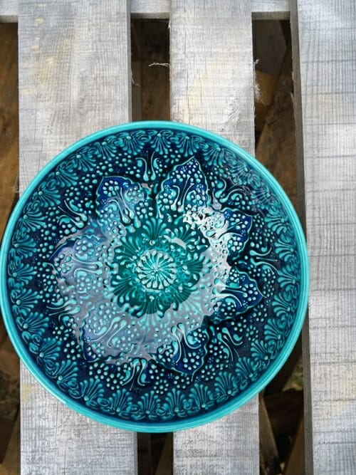 20cm bowl green handpainted